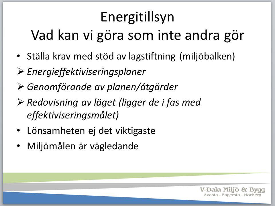 Energitillsyn Vad kan vi göra som inte andra gör Ställa krav med stöd av lagstiftning (miljöbalken)  Energieffektiviseringsplaner  Genomförande av p