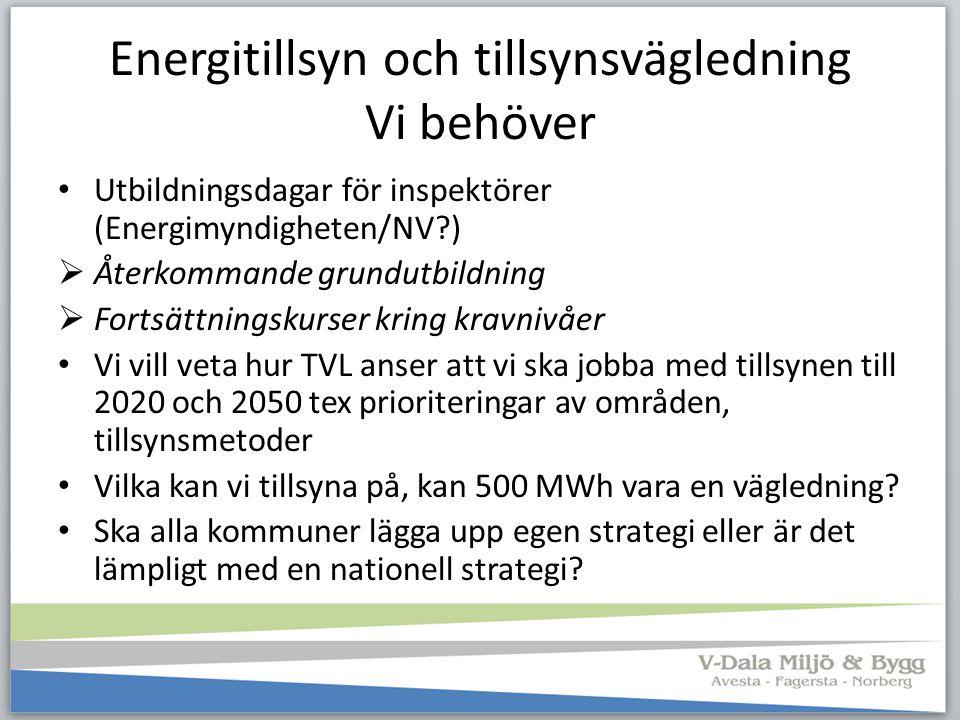 Energitillsyn och tillsynsvägledning Vi behöver Utbildningsdagar för inspektörer (Energimyndigheten/NV?)  Återkommande grundutbildning  Fortsättning