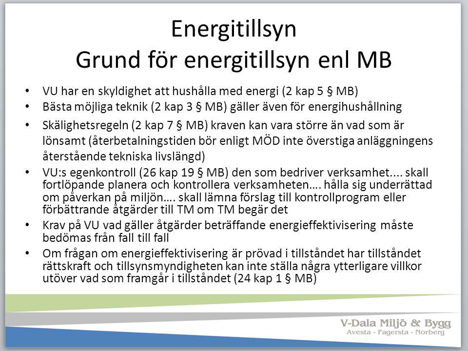 Energitillsyn Grund för energitillsyn enl MB VU har en skyldighet att hushålla med energi (2 kap 5 § MB) Bästa möjliga teknik (2 kap 3 § MB) gäller äv