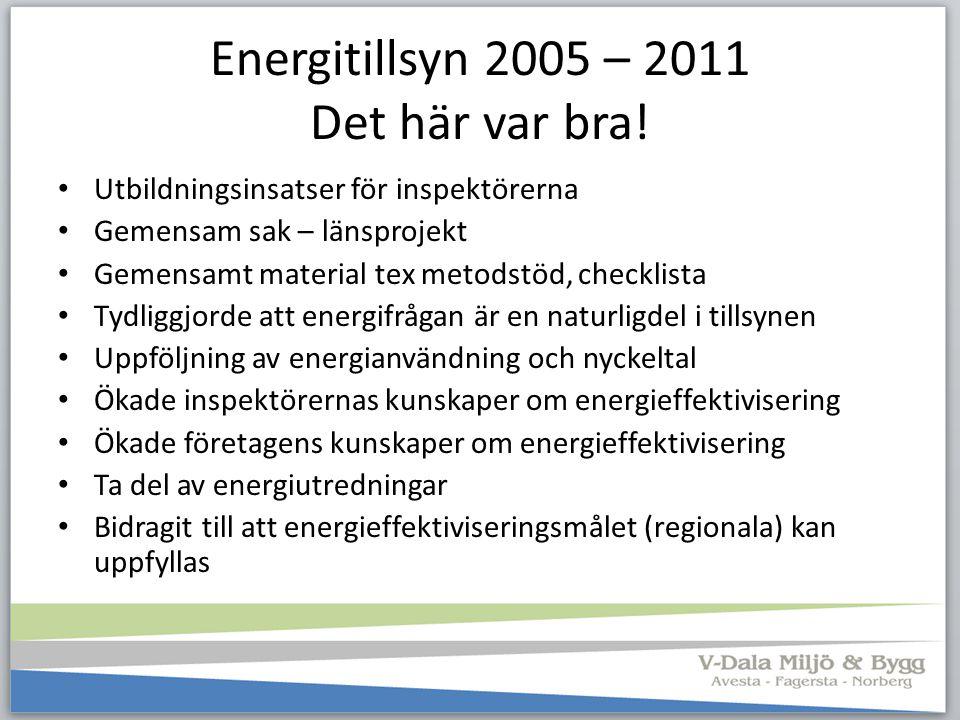 Energitillsyn 2005 – 2011 Det här var bra! Utbildningsinsatser för inspektörerna Gemensam sak – länsprojekt Gemensamt material tex metodstöd, checklis