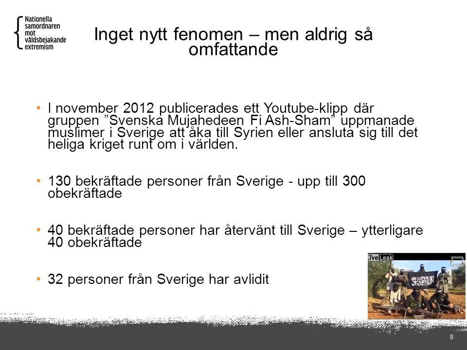"""Inget nytt fenomen – men aldrig så omfattande 8 I november 2012 publicerades ett Youtube-klipp där gruppen """"Svenska Mujahedeen Fi Ash-Sham"""" uppmanade"""