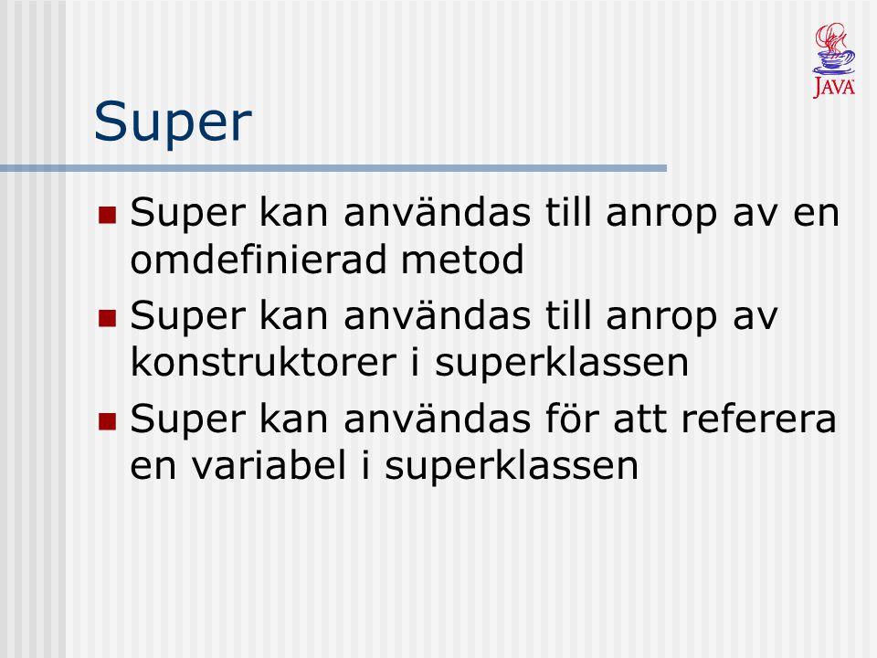 Super Super kan användas till anrop av en omdefinierad metod Super kan användas till anrop av konstruktorer i superklassen Super kan användas för att referera en variabel i superklassen