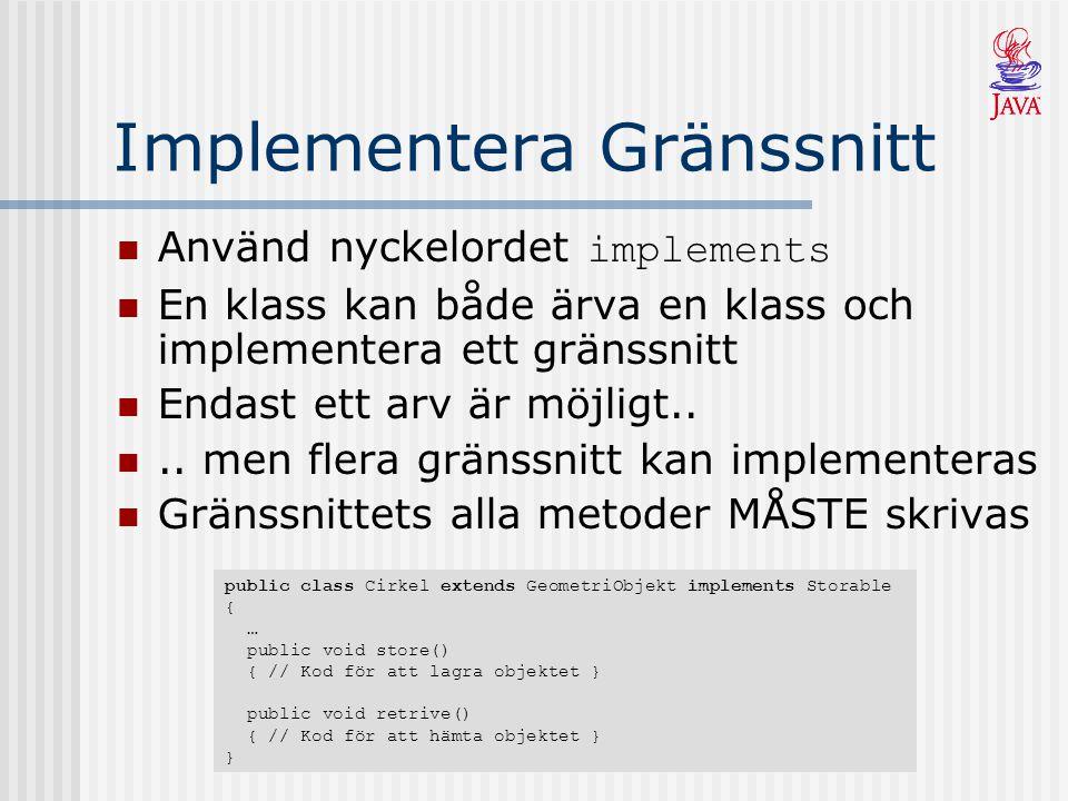 Implementera Gränssnitt Använd nyckelordet implements En klass kan både ärva en klass och implementera ett gränssnitt Endast ett arv är möjligt....