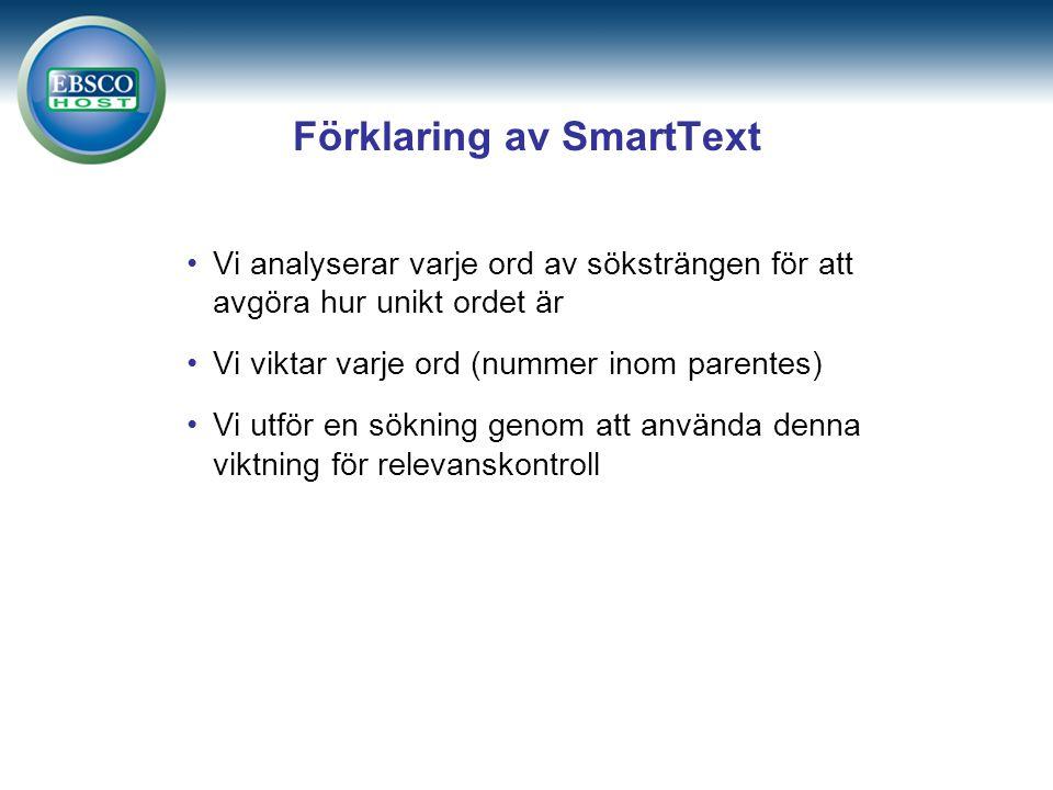 Förklaring av SmartText Vi analyserar varje ord av söksträngen för att avgöra hur unikt ordet är Vi viktar varje ord (nummer inom parentes) Vi utför en sökning genom att använda denna viktning för relevanskontroll