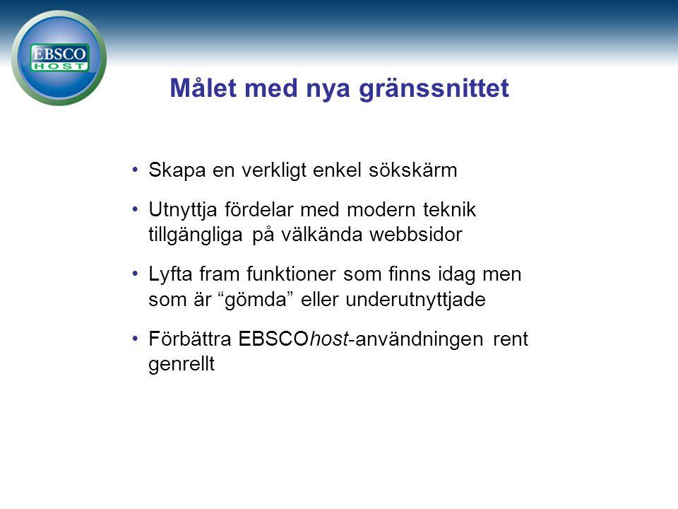 Målet med nya gränssnittet Skapa en verkligt enkel sökskärm Utnyttja fördelar med modern teknik tillgängliga på välkända webbsidor Lyfta fram funktioner som finns idag men som är gömda eller underutnyttjade Förbättra EBSCOhost-användningen rent genrellt