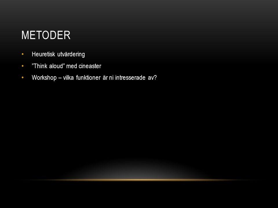 """METODER Heuretisk utvärdering """"Think aloud"""" med cineaster Workshop – vilka funktioner är ni intresserade av?"""
