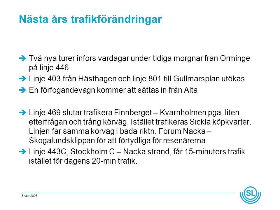 8 sep 2008 Nästa års trafikförändringar  Två nya turer införs vardagar under tidiga morgnar från Orminge på linje 446  Linje 403 från Hästhagen och linje 801 till Gullmarsplan utökas  En förfogandevagn kommer att sättas in från Älta  Linje 469 slutar trafikera Finnberget – Kvarnholmen pga.