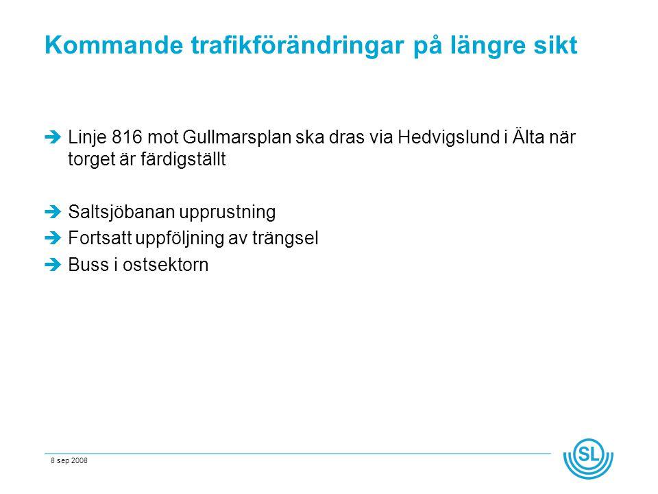 8 sep 2008 Kommande trafikförändringar på längre sikt  Linje 816 mot Gullmarsplan ska dras via Hedvigslund i Älta när torget är färdigställt  Saltsjöbanan upprustning  Fortsatt uppföljning av trängsel  Buss i ostsektorn