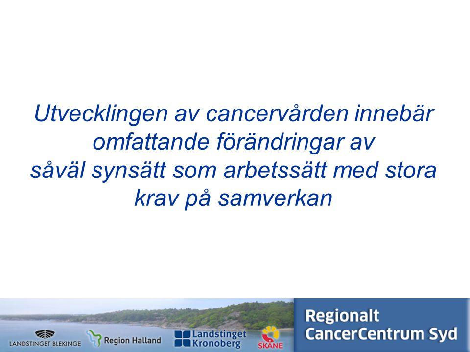 www.cancercentrumsyd.se Utvecklingen av p atientprocesser flyttar fokus från produktionsmått för verksamheten till resultatmått för patienterna