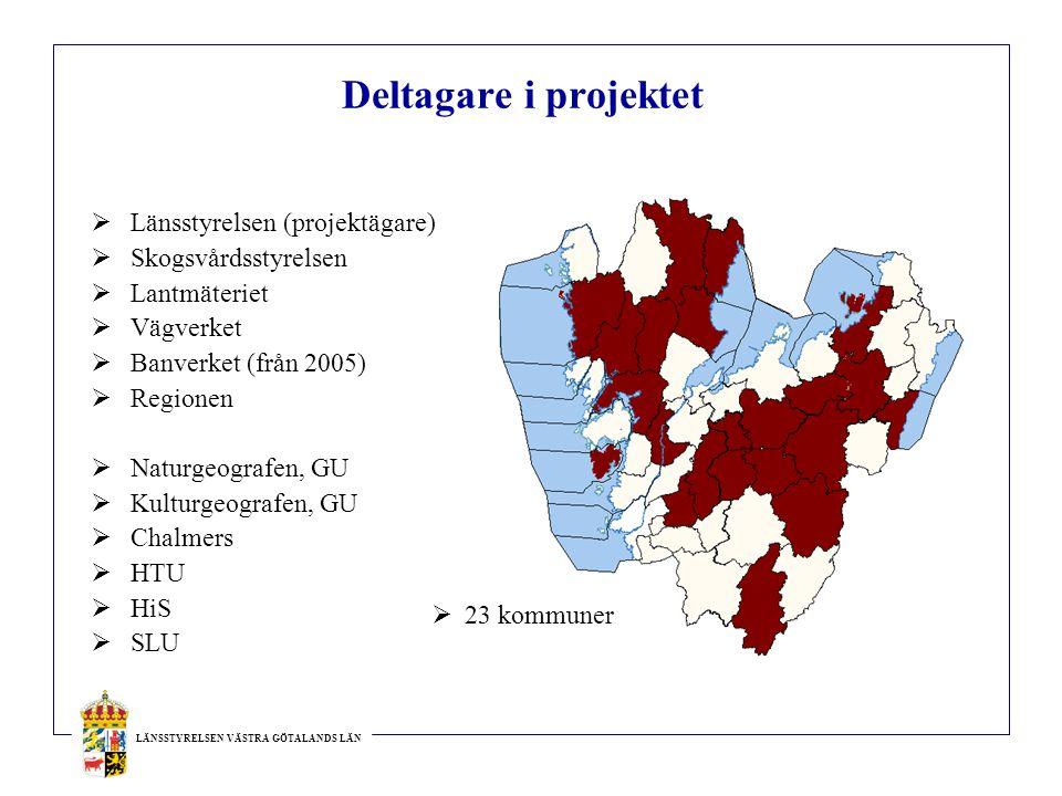Deltagare i projektet  Länsstyrelsen (projektägare)  Skogsvårdsstyrelsen  Lantmäteriet  Vägverket  Banverket (från 2005)  Regionen  Naturgeogra