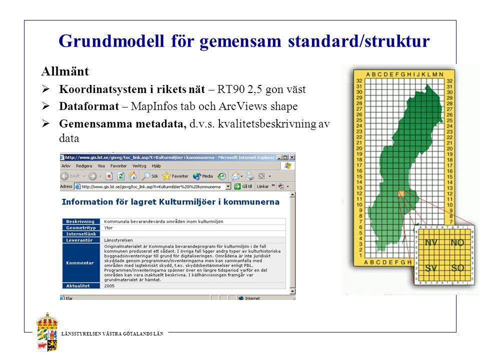 LÄNSSTYRELSEN VÄSTRA GÖTALANDS LÄN Grundmodell för gemensam standard/struktur Allmänt  Koordinatsystem i rikets nät – RT90 2,5 gon väst  Dataformat