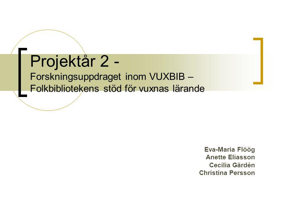 Projektår 2 - Forskningsuppdraget inom VUXBIB – Folkbibliotekens stöd för vuxnas lärande Eva-Maria Flöög Anette Eliasson Cecilia Gärdén Christina Persson