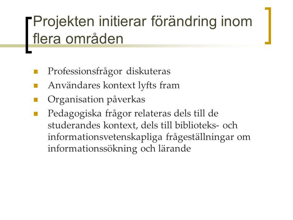 Projekten initierar förändring inom flera områden Professionsfrågor diskuteras Användares kontext lyfts fram Organisation påverkas Pedagogiska frågor