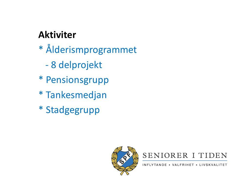 Aktiviter * Ålderismprogrammet - 8 delprojekt * Pensionsgrupp * Tankesmedjan * Stadgegrupp