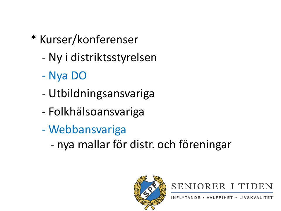 * Kurser/konferenser - Ny i distriktsstyrelsen - Nya DO - Utbildningsansvariga - Folkhälsoansvariga - Webbansvariga - nya mallar för distr. och föreni