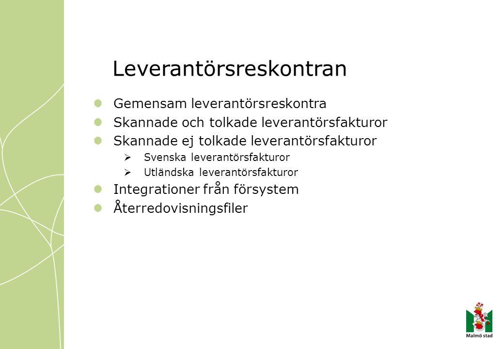 Leverantörsreskontran Gemensam leverantörsreskontra Skannade och tolkade leverantörsfakturor Skannade ej tolkade leverantörsfakturor  Svenska leveran