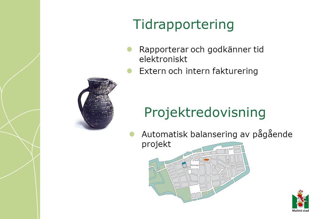 Tidrapportering Rapporterar och godkänner tid elektroniskt Extern och intern fakturering Automatisk balansering av pågående projekt Projektredovisning