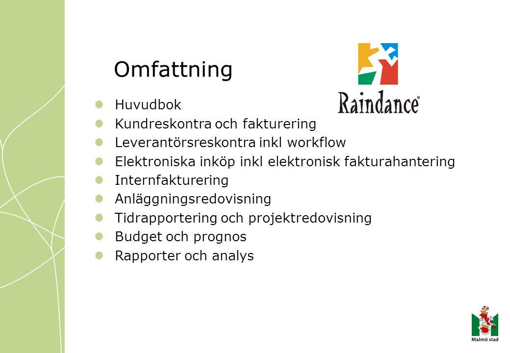 Omfattning Huvudbok Kundreskontra och fakturering Leverantörsreskontra inkl workflow Elektroniska inköp inkl elektronisk fakturahantering Internfaktur