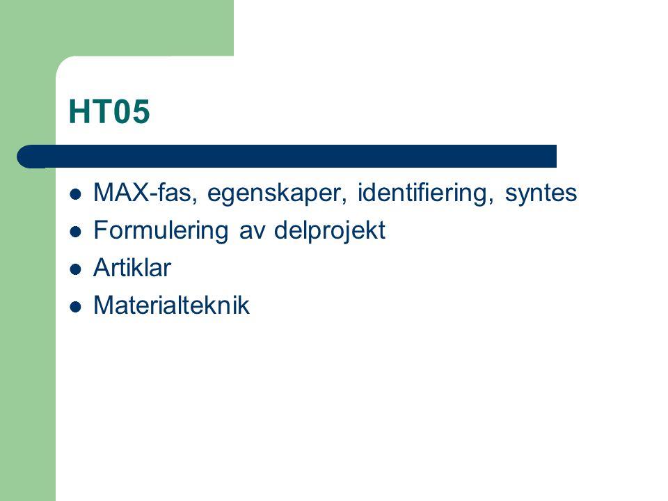 HT05 MAX-fas, egenskaper, identifiering, syntes Formulering av delprojekt Artiklar Materialteknik