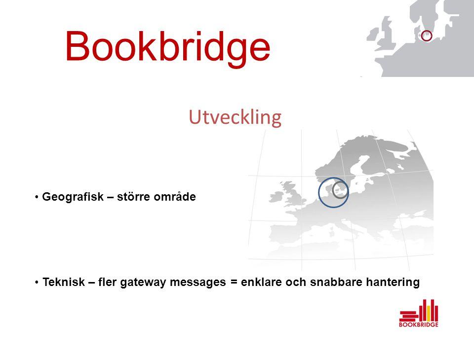 Bookbridge Utveckling Geografisk – större område Teknisk – fler gateway messages = enklare och snabbare hantering