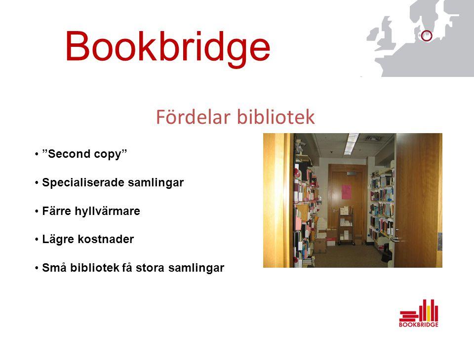 Bookbridge Fördelar bibliotek Second copy Specialiserade samlingar Färre hyllvärmare Lägre kostnader Små bibliotek få stora samlingar