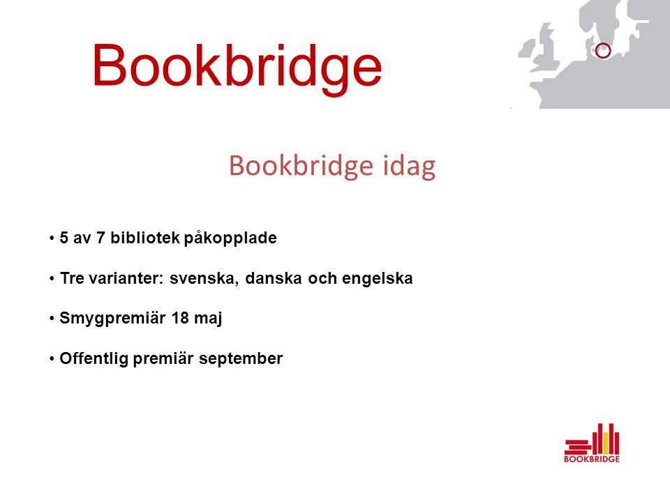 Bookbridge Bookbridge idag 5 av 7 bibliotek påkopplade Tre varianter: svenska, danska och engelska Smygpremiär 18 maj Offentlig premiär september