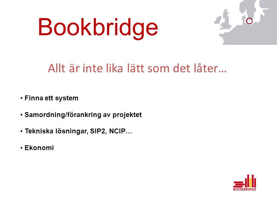 Bookbridge Allt är inte lika lätt som det låter… Finna ett system Samordning/förankring av projektet Tekniska lösningar, SIP2, NCIP… Ekonomi