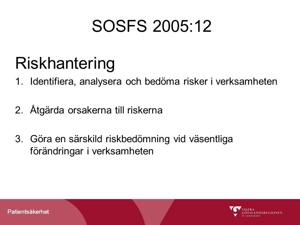 Patientsäkerhet SOSFS 2005:12 Riskhantering 1.Identifiera, analysera och bedöma risker i verksamheten 2.Åtgärda orsakerna till riskerna 3.Göra en särs