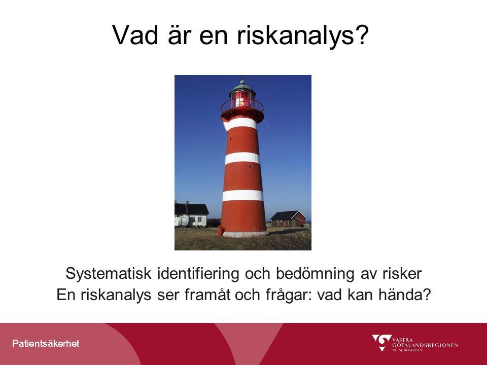 Patientsäkerhet Systematiskt arbete med riskanalyser ger bättre förutsättningar för trygga förändringar Riskanalyser genomförs systematiskt i Vård 2010 Minst en utförs i varje delprojekt Utförs när den nya verksamhetsbeskrivningen är gjord