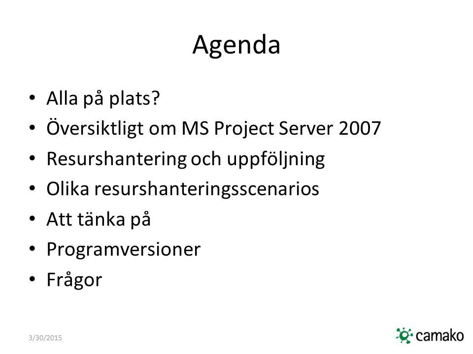 3/30/2015 Översiktligt om MS Project Server 2007 Öka synlighet, insikt och kontroll över företagets projektportfölj Säkerställ att initiativ samordnas med strategiska mål Möjliggör deltagande från alla beslutsfattare och teammedlemmar Skapa förutsättningar för enhetliga arbetssätt på strategisk, taktisk och operativ nivå Stöd samordnade beslutsprocesser