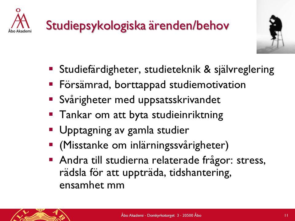 Studiepsykologiska ärenden/behov  Studiefärdigheter, studieteknik & självreglering  Försämrad, borttappad studiemotivation  Svårigheter med uppsats