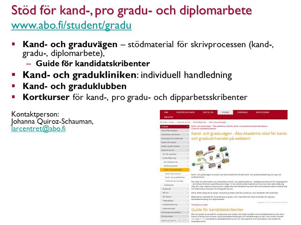  Kand- och graduvägen – stödmaterial för skrivprocessen (kand-, gradu-, diplomarbete), – Guide för kandidatskribenter  Kand- och gradukliniken: individuell handledning  Kand- och graduklubben  Kortkurser för kand-, pro gradu- och dipparbetsskribenter Kontaktperson: Johanna Quiroz-Schauman, larcentret@abo.fi larcentret@abo.fi Stöd för kand-, pro gradu- och diplomarbete Stöd för kand-, pro gradu- och diplomarbete www.abo.fi/student/gradu www.abo.fi/student/gradu Åbo Akademi - Domkyrkotorget 3 - 20500 Åbo 19
