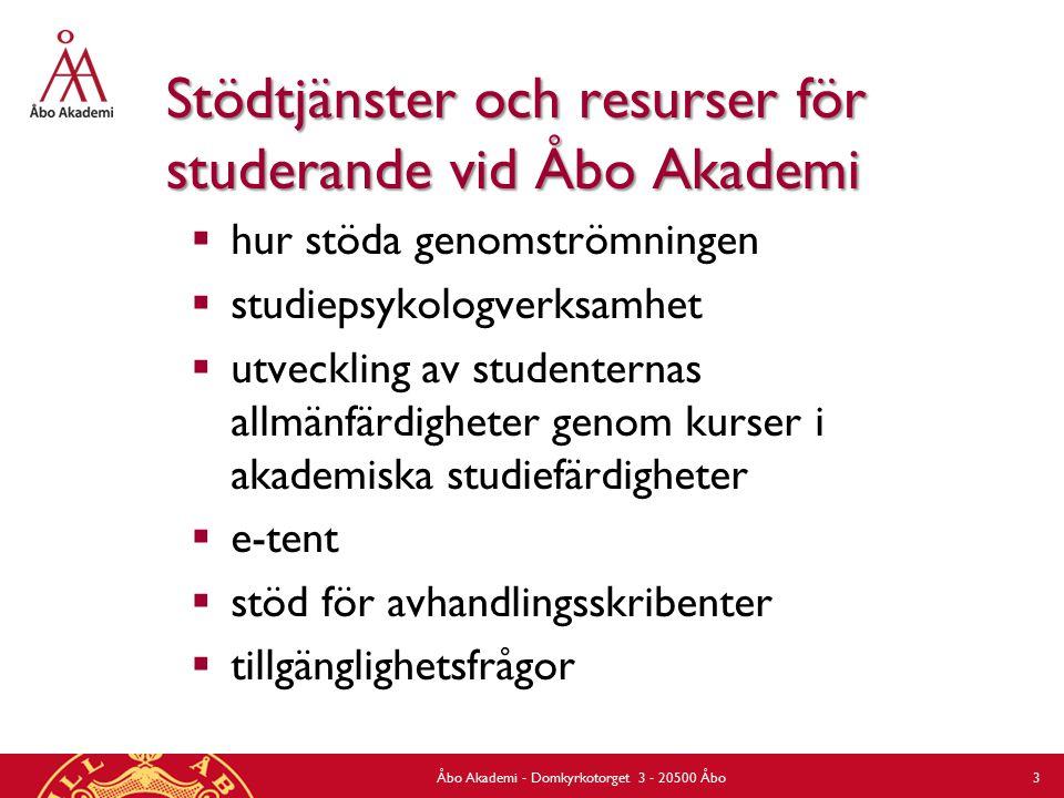 Stödtjänster och resurser för studerande vid Åbo Akademi  hur stöda genomströmningen  studiepsykologverksamhet  utveckling av studenternas allmänfärdigheter genom kurser i akademiska studiefärdigheter  e-tent  stöd för avhandlingsskribenter  tillgänglighetsfrågor Åbo Akademi - Domkyrkotorget 3 - 20500 Åbo 3
