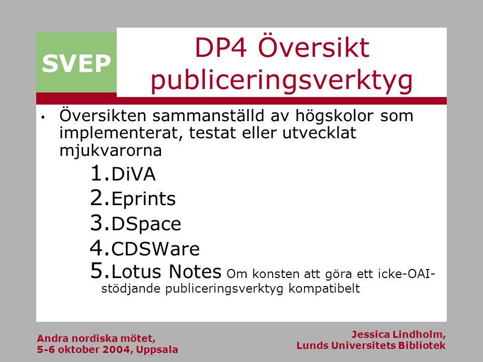 Andra nordiska mötet, 5-6 oktober 2004, Uppsala Jessica Lindholm, Lunds Universitets Bibliotek SVEP DP4 Översikt publiceringsverktyg Översikten sammanställd av högskolor som implementerat, testat eller utvecklat mjukvarorna 1.
