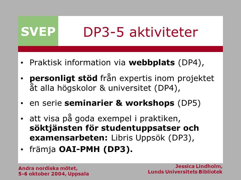 Andra nordiska mötet, 5-6 oktober 2004, Uppsala Jessica Lindholm, Lunds Universitets Bibliotek SVEP DP3-5 aktiviteter Praktisk information via webbplats (DP4), personligt stöd från expertis inom projektet åt alla högskolor & universitet (DP4), en serie seminarier & workshops (DP5) att visa på goda exempel i praktiken, söktjänsten för studentuppsatser och examensarbeten: Libris Uppsök (DP3), främja OAI-PMH (DP3).