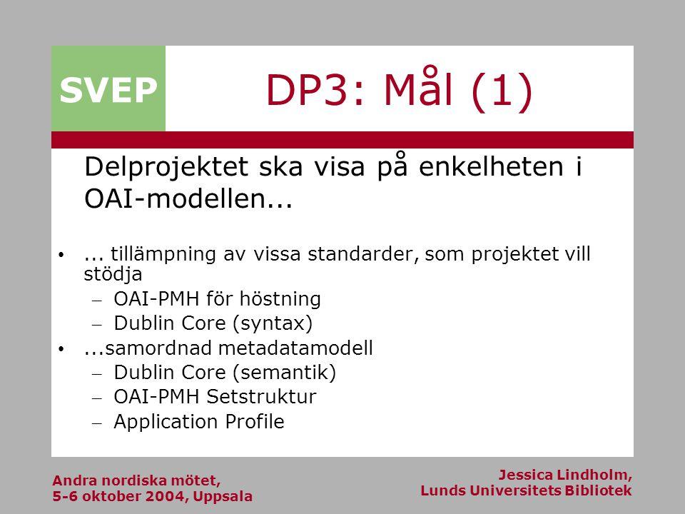 Andra nordiska mötet, 5-6 oktober 2004, Uppsala Jessica Lindholm, Lunds Universitets Bibliotek SVEP DP3: Mål (1) Delprojektet ska visa på enkelheten i OAI-modellen......