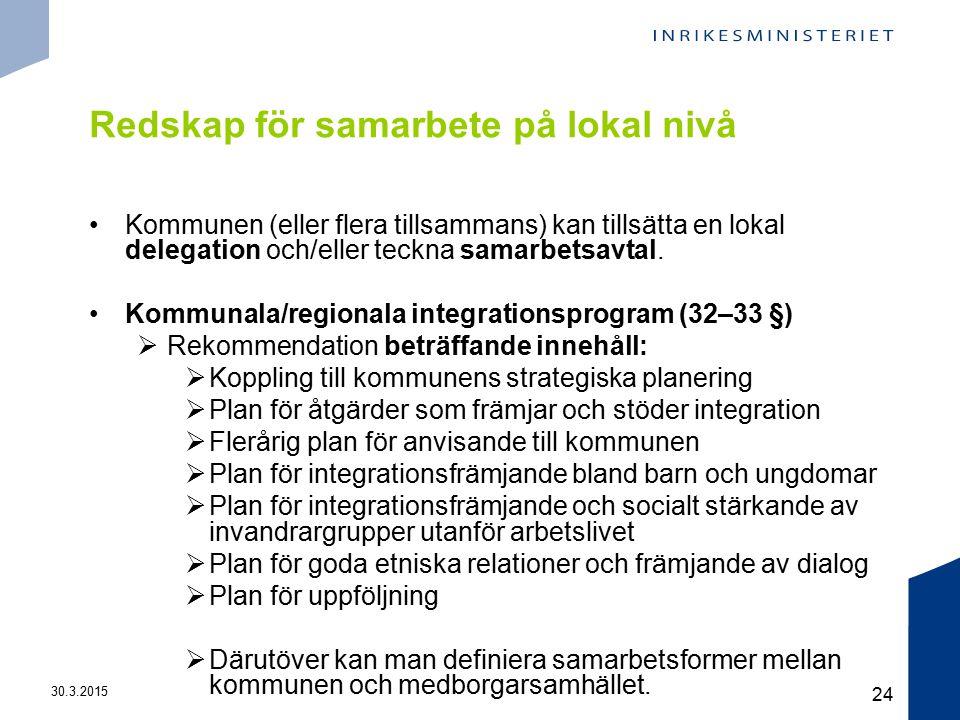 30.3.2015 24 Redskap för samarbete på lokal nivå Kommunen (eller flera tillsammans) kan tillsätta en lokal delegation och/eller teckna samarbetsavtal.