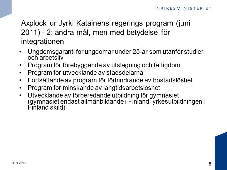 30.3.2015 8 8 Ungdomsgaranti för ungdomar under 25-år som utanför studier och arbetsliv Program för förebyggande av utslagning och fattigdom Program för utvecklande av stadsdelarna Fortsättande av program för förhindrande av bostadslöshet Program för minskande av långtidsarbetslöshet Utvecklande av förberedande utbildning för gymnasiet (gymnasiet endast allmänbildande i Finland; yrkesutbildningen i Finland skild) Axplock ur Jyrki Katainens regerings program (juni 2011) - 2: andra mål, men med betydelse för integrationen