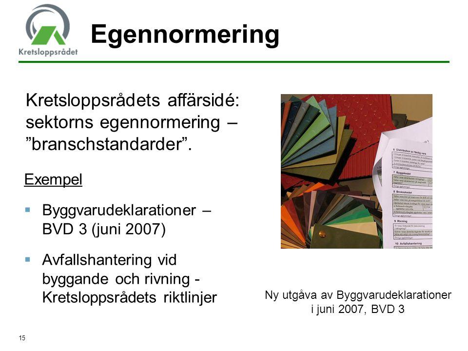 15 Egennormering Exempel  Byggvarudeklarationer – BVD 3 (juni 2007)  Avfallshantering vid byggande och rivning - Kretsloppsrådets riktlinjer Kretslo
