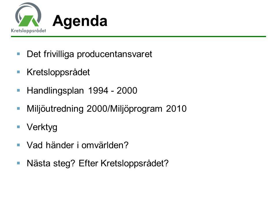 Agenda  Det frivilliga producentansvaret  Kretsloppsrådet  Handlingsplan 1994 - 2000  Miljöutredning 2000/Miljöprogram 2010  Verktyg  Vad händer