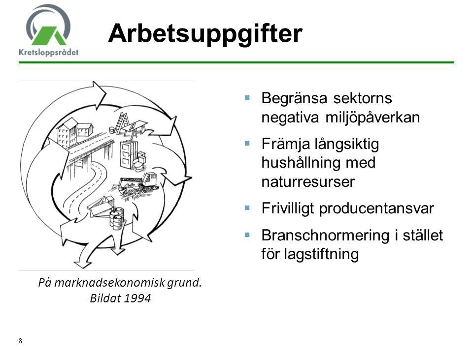 8 Arbetsuppgifter  Begränsa sektorns negativa miljöpåverkan  Främja långsiktig hushållning med naturresurser  Frivilligt producentansvar  Branschn