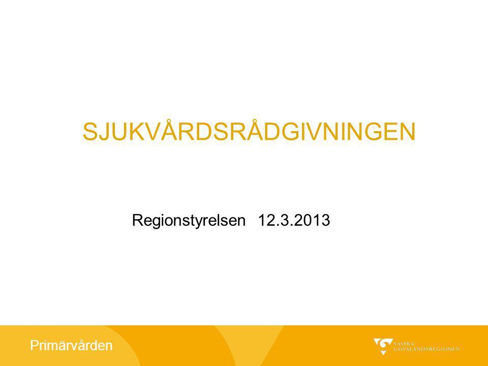 Primärvården Servicenivå 1 jan11 – dec12 dvs antal samtal besvarade inom 3 minuter