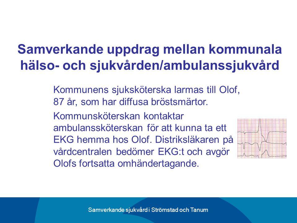Samverkande sjukvård i Strömstad och Tanum Samverkande uppdrag mellan kommunala hälso- och sjukvården/ambulanssjukvård Kommunens sjuksköterska larmas