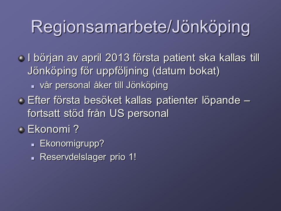 Regionsamarbete/Jönköping I början av april 2013 första patient ska kallas till Jönköping för uppföljning (datum bokat) vår personal åker till Jönköping vår personal åker till Jönköping Efter första besöket kallas patienter löpande – fortsatt stöd från US personal Ekonomi .