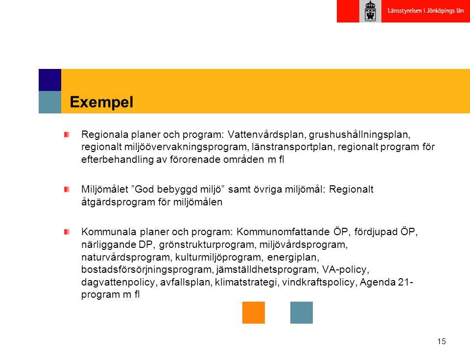 15 Exempel Regionala planer och program: Vattenvårdsplan, grushushållningsplan, regionalt miljöövervakningsprogram, länstransportplan, regionalt progr