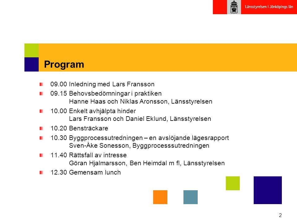 2 Program 09.00 Inledning med Lars Fransson 09.15 Behovsbedömningar i praktiken Hanne Haas och Niklas Aronsson, Länsstyrelsen 10.00Enkelt avhjälpta hi