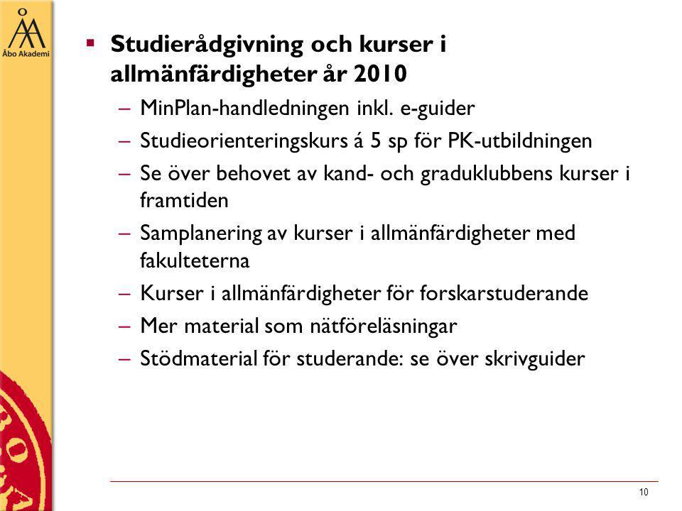 10  Studierådgivning och kurser i allmänfärdigheter år 2010 –MinPlan-handledningen inkl.