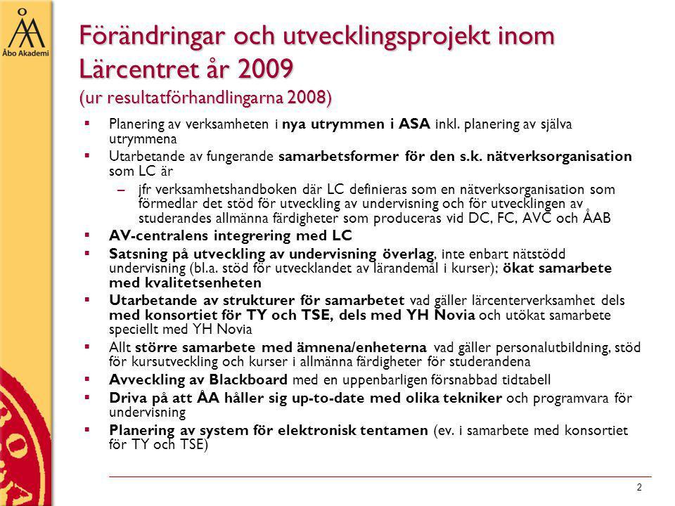 3 Studierådgivning - planer för utvecklingsarbete 2009  E-guider för MinPlan –har inte skapats nya 2009  Utveckla studerandenas allmänfärdigheter –Mer teknik Infon för åk 1 som nätföreläsningar (finns för Öpu, Arbetsforum, saknas för de flesta) E-guide för intro i ÅA:s IT-miljö har ej gjorts fler nätföreläsningar i Presenter för ASF har inte gjorts ny teknik genom introföreläsningar i ACP i ASF Kand- och graduklubben: elomake nytt tema, inte om sociala medier –Integrering med fakulteterna Kand-gradustöd mer integrerat med fakulteterna: med HF:s kurs Vetenskap: teori och praktik , TkF.