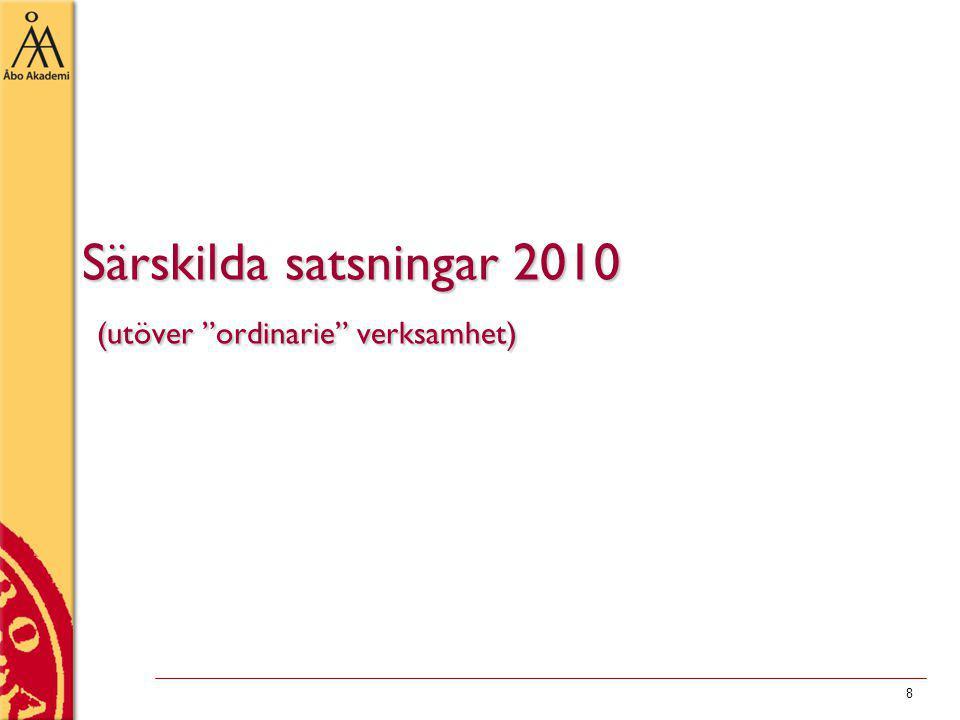 8 Särskilda satsningar 2010 (utöver ordinarie verksamhet)