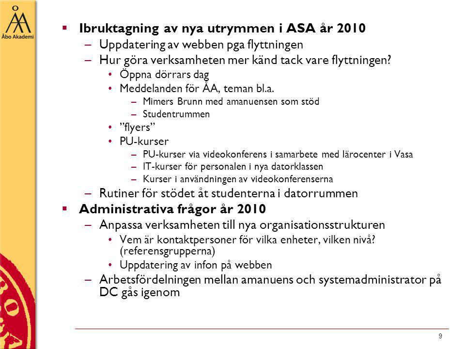 9  Ibruktagning av nya utrymmen i ASA år 2010 –Uppdatering av webben pga flyttningen –Hur göra verksamheten mer känd tack vare flyttningen.